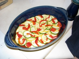 Our first Ratatouille, before baking