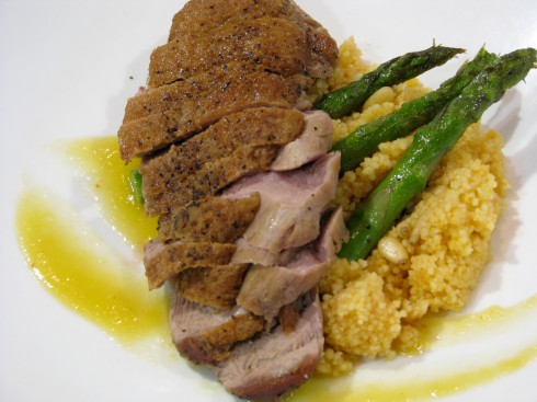 Iron Chef Heat 2 dish by Chef Jacob Peck and Sous Chef Greg Wallis of Forty Two.Roasted duck with a mango gastrique, asparagus and couscous.