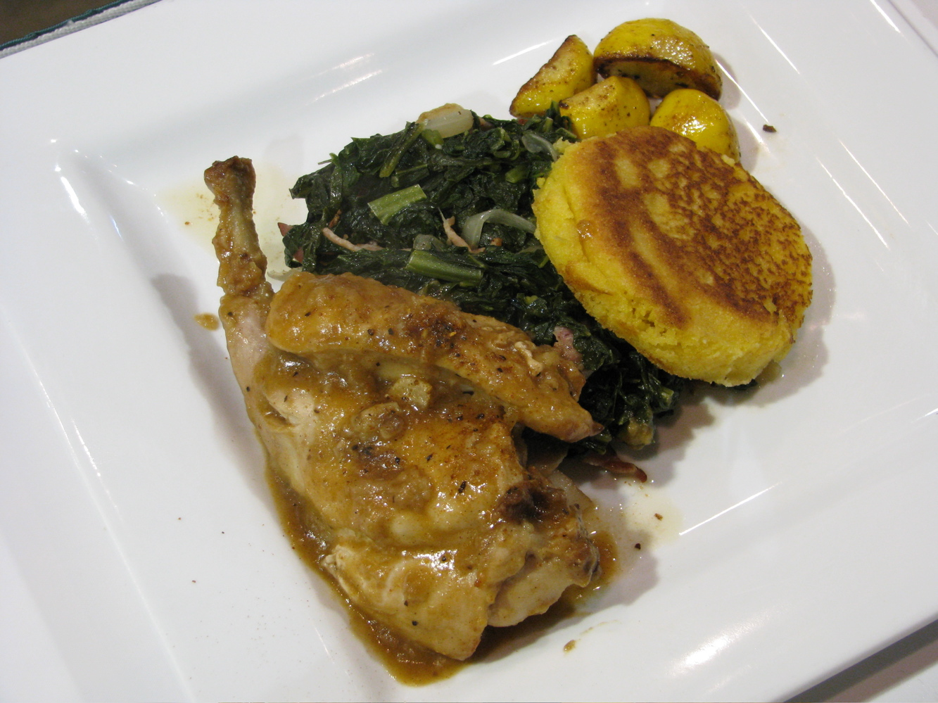 Iron Chef Final Round dish by Chef Osi Imomoh and Sous Chef Howard Austion of Southland Park Gaming & Racing. Smothered rabbit with cornmeal johnnycake, greens and roasted squash.