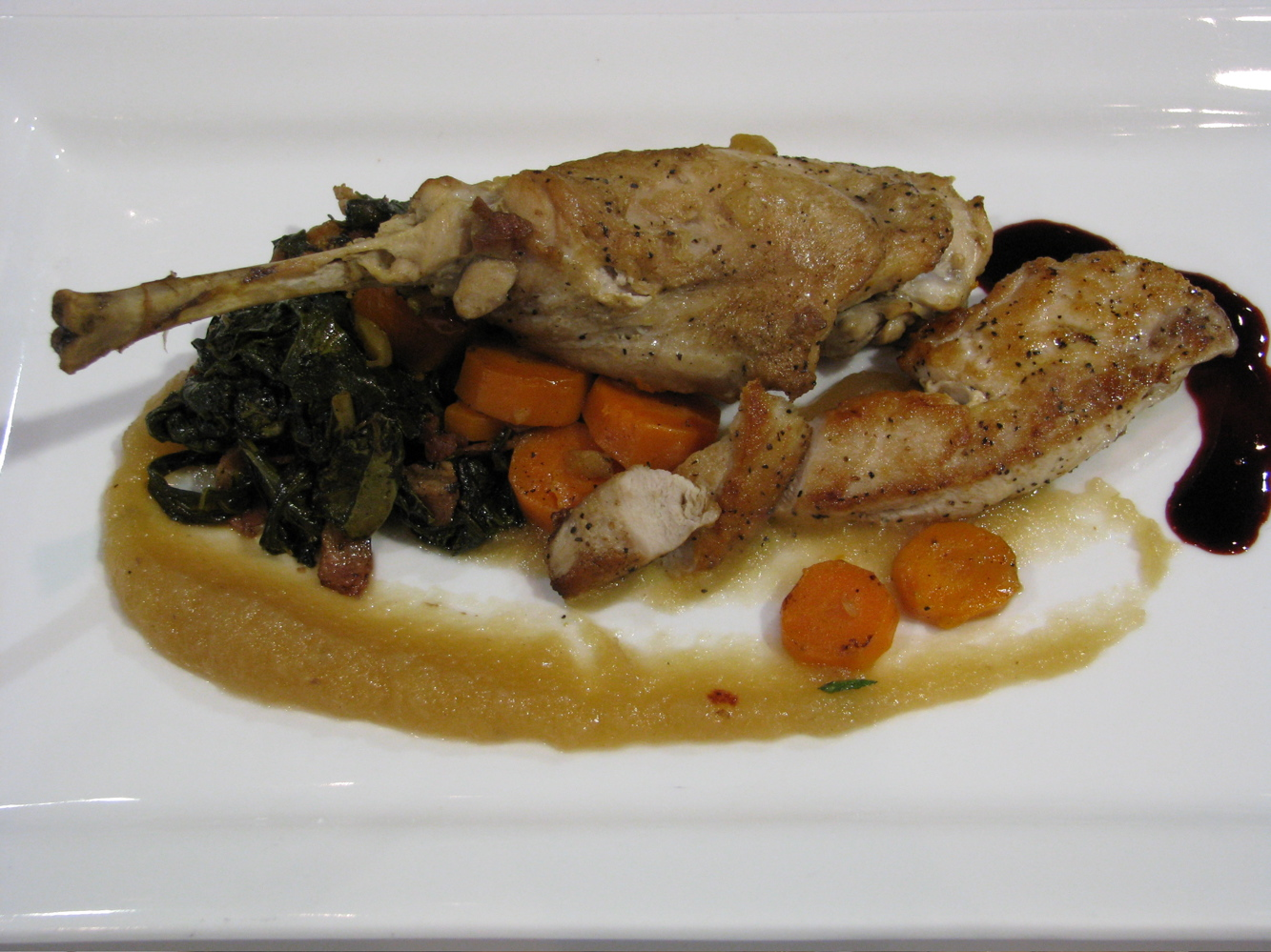 Iron Chef Final Round dish by Chef Jacob Peck and Sous Chef Greg Wallis of Forty Two. Roasted rabbit with a raspberry coulis, sweet applesauce, carrots and greens w/bacon. This was the winning dish.
