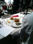 A soup course in the ostrich eggshell presented by Team Cameron