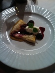 Team Cameron's dessert, a puff pastry berry item with a fruit and a sabayon sauce.