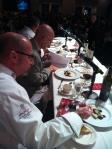 Judges eating the dessert round
