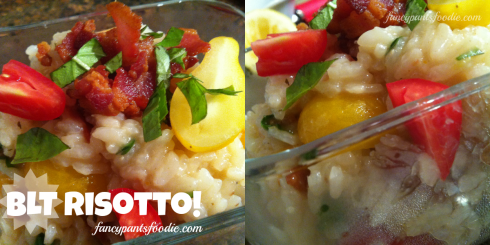 Two photos of BLT Risotto with bacon, basil and baby yellow and red tomatoes