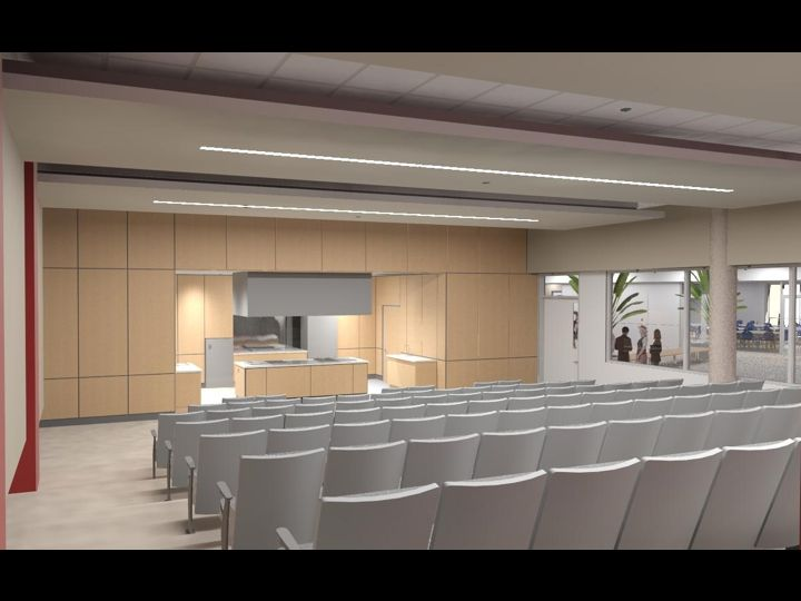 Architect rendering of demonstration kitchen at Pulaski Technical College Arkansas Culinary School