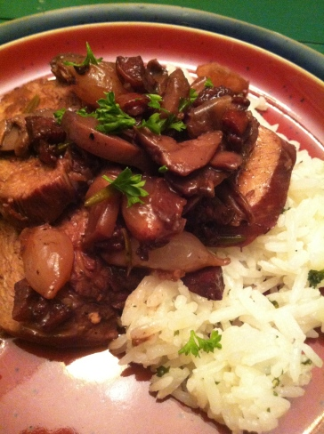 Not-Really Coq au Vin, served with jasmine rice.