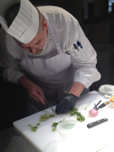 Chef Dan Capello, Executive Chef of Chenal Country Club, competes in round three of today's Diamond Chef preliminaries.