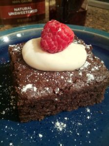 Eggless Chocolate Cake I made on Daybreak. Or maybe a gluten-free version I made the night before. Not telling.
