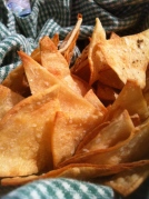 The baked tortilla chips were dusted with kosher salt and a tiny sprinkling of garlic powder and pepper.