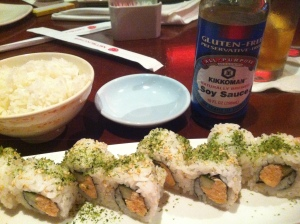 Amazing, totally gluten-free sushi from Tokyo Dining in Epcot's Japan, complete with GF soy sauce.