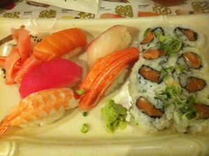 The sushi bento plate with salmon roll. No subs allowed on the nigiri, though.
