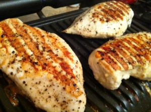 Chicken breasts on the OptiGrill. Delish, but I think I'll take them off a tad earlier next time.