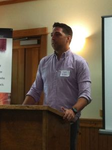 Chef Donnie Ferneau speaks at a Foodie Friday session of Arkansas Women Bloggers Unplugged.