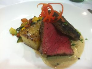 Smoked, pan-seared beef tenderloin with fondant potatoes and baby vegetables by Jason Knapp, Aramark/UCA.