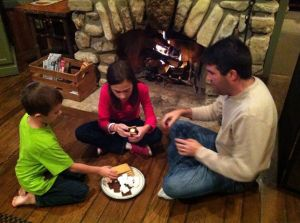 The family making s'mores by the fire. How could I not participate?