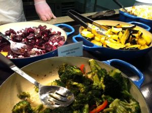 Fresh vegetable selections in the entree area.