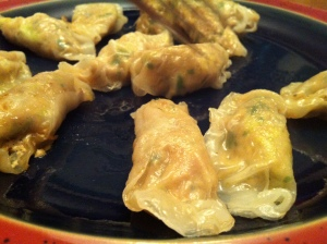 My glorious plate of too-few GF turkey potstickers.