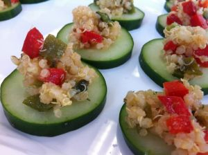 Attendees at the North Little Rock Vitamin Shoppe's Share the Health event loved these Poblano Quinoa Cucumber Bites with Cumin Vinaigrette