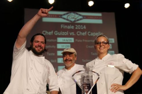 Diamond Chef 2014 winner Marc Guizol (center) with sous Patrick Kelly and Adrienne Rogers.