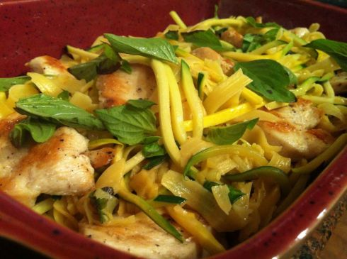 Browned butter squash noodles with fettuccine, lemon thyme and chicken.